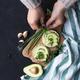 Vegan breakfast rice tortillas avocado tomato spices onions - PhotoDune Item for Sale