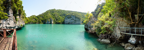 Panorama Thale Nai view Blue Lagoon (Emerald Lake) - Stock Photo - Images