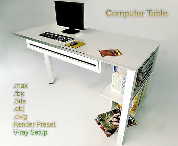 Compoter Table VRay Render - 3DOcean Item for Sale