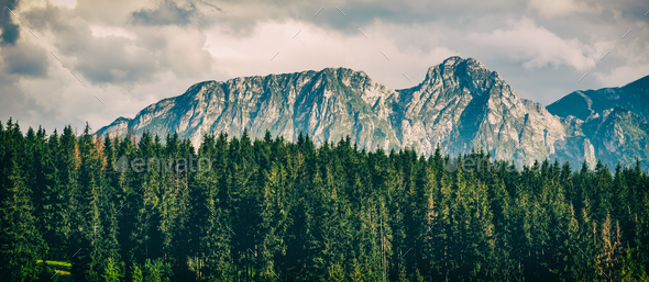Giewont Mountain, Inspiring Mountains Landscape in summer Tatras - Stock Photo - Images