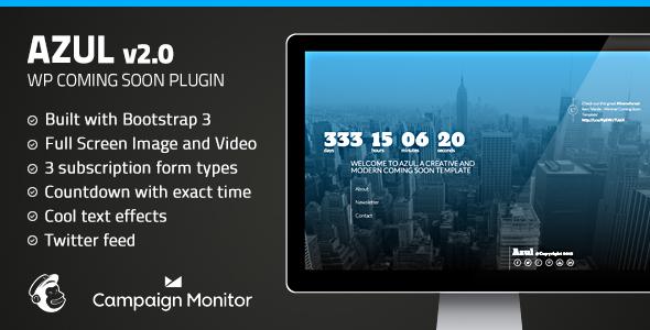 Azul - Responsive WordPress Coming Soon Plugin - CodeCanyon Item for Sale