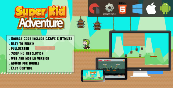 Super Kid Adventure Game - HTML5 - Web + Mobile (HTML5 & CAPX)            Nulled
