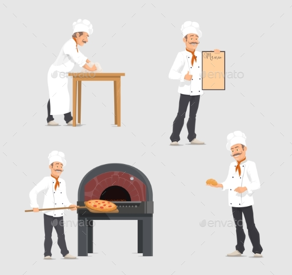 Vector Bakery and Baker at Bakehouse Flat Design - People Characters