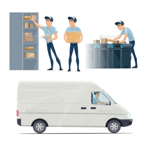 Post Mail Service Vector Icons with Postman - Services Commercial / Shopping