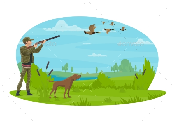 Hunt for Ducks Vector Poster Design - Sports/Activity Conceptual