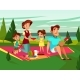 Vector Cartoon Family at Picnic Party - GraphicRiver Item for Sale