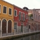 Multi-colored Houses on Canal in Venice, Italy,