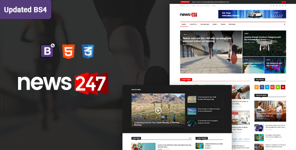 News247 - News Magazine HTML Template - Entertainment Site Templates