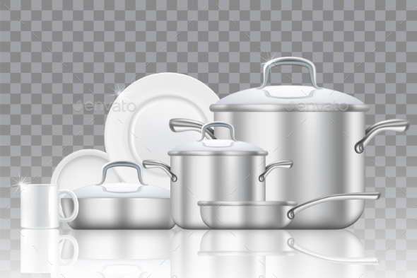 Crockery and Cookware Realistic Vector Icon Set - Miscellaneous Vectors
