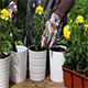 Gardener Planting Yellow Marigolds To Flower Pots