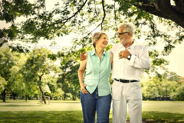 Senior couple in the park - Stock Photo - Images