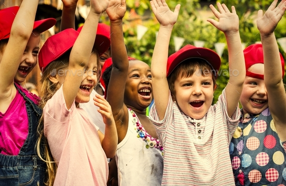 Group of kids school friends hand raised happiness smiling learn - Stock Photo - Images