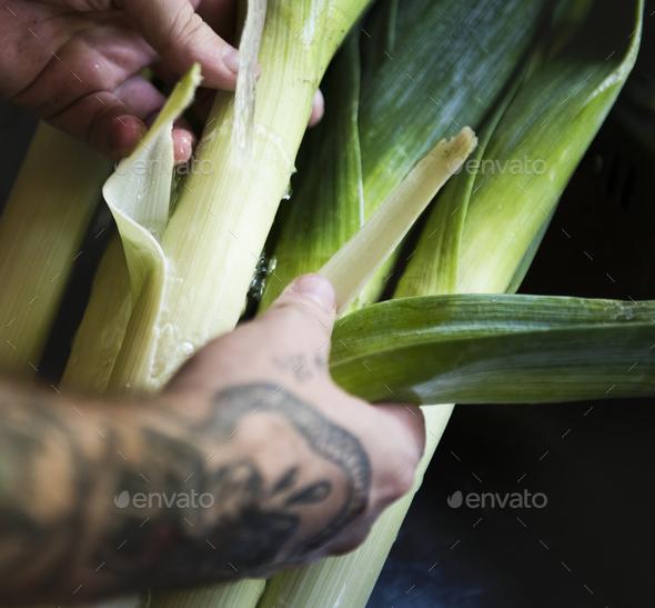 Organic leeks food photography recipe idea - Stock Photo - Images