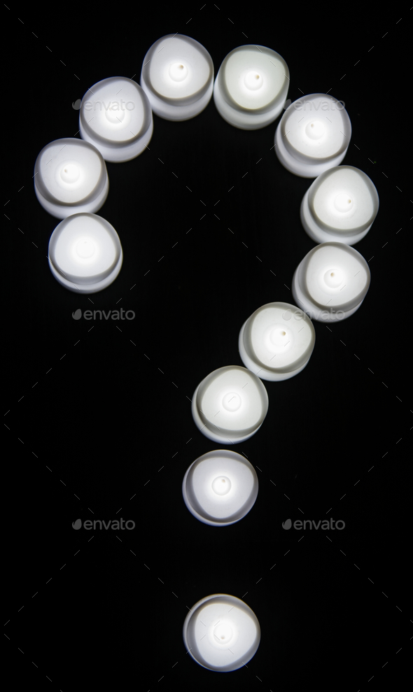 White lights question mark icon - Stock Photo - Images