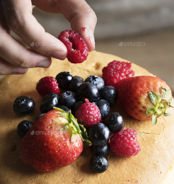 Homemade berry cake food photography recipe idea - Stock Photo - Images