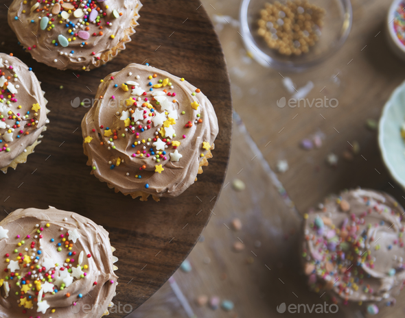Chocolate cupcake food photography recipe idea - Stock Photo - Images