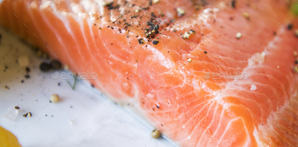 Fresh salmon fillet food photography recipe idea - Stock Photo - Images