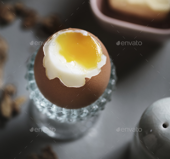 Soft boiled egg food photography recipe idea - Stock Photo - Images