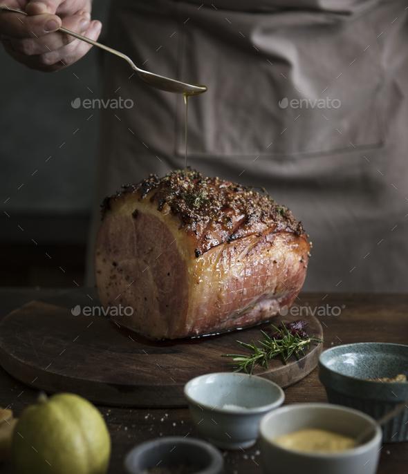 Baked ham food photography recipe idea - Stock Photo - Images