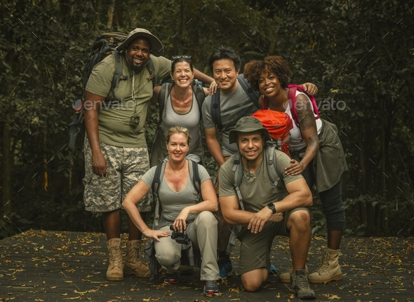 Group of happy diverse campers - Stock Photo - Images