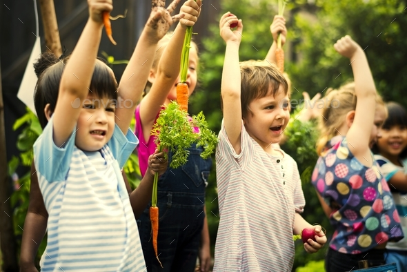 Group of kindergarten kids learning gardening outdoors - Stock Photo - Images