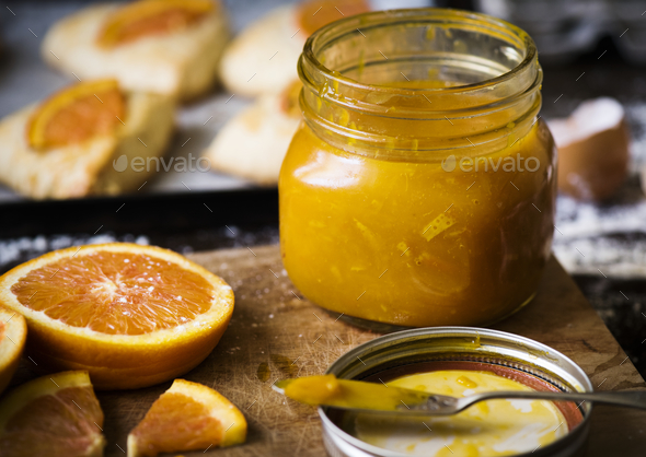 Homemade orange marmalade food photography recipe idea - Stock Photo - Images