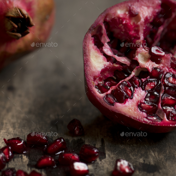 Fresh pomegranate food photography recipe idea - Stock Photo - Images