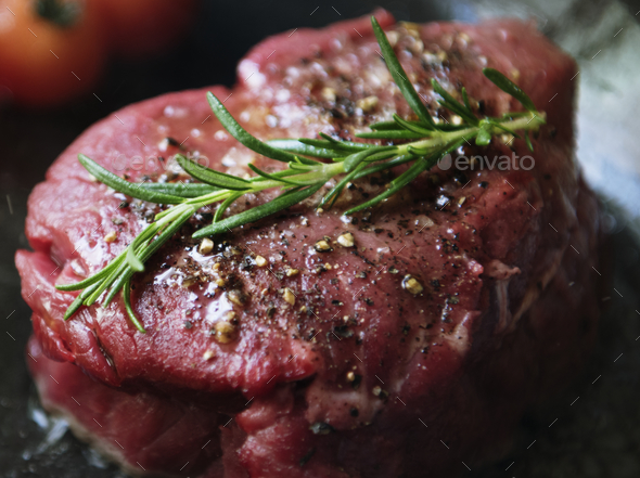 Fillet steak cooking food photography recipe idea - Stock Photo - Images