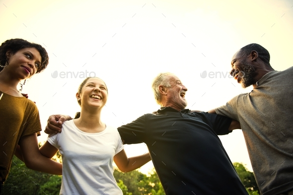Group of people support unity arm around together - Stock Photo - Images