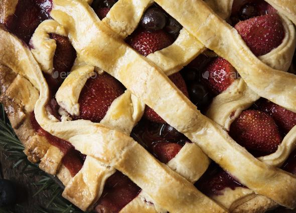 Strawberry pie food photography recipe idea - Stock Photo - Images