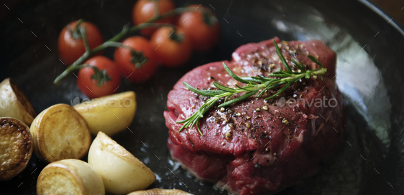 Cooking a fillet steak food photography recipe idea - Stock Photo - Images