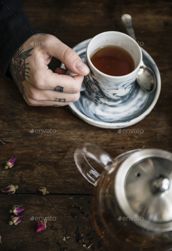 Cup of hot herbal tea - Stock Photo - Images