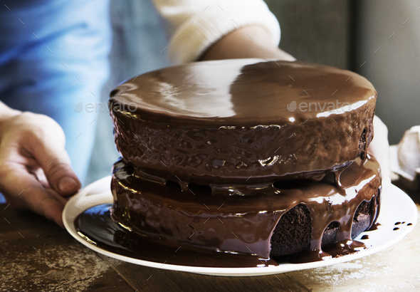 Chocolate fudge cake photography recipe idea - Stock Photo - Images