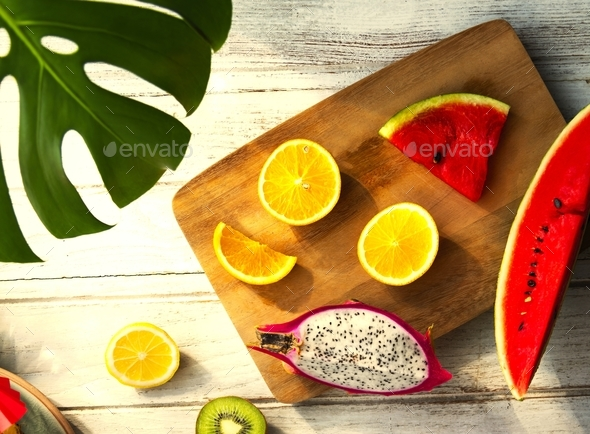 Aerial view of tropical fruit - Stock Photo - Images