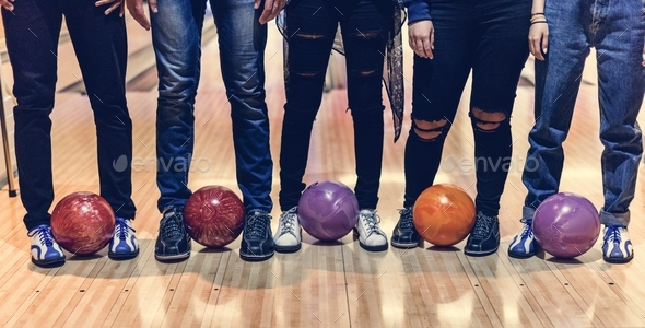 Time with friends at a bowling alley - Stock Photo - Images