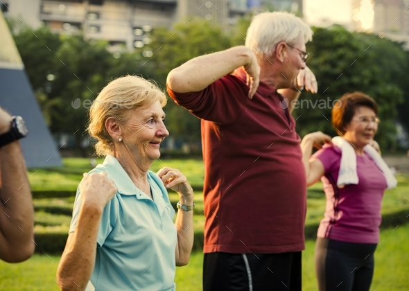 Senior Adult Exercise Fitness Strength - Stock Photo - Images