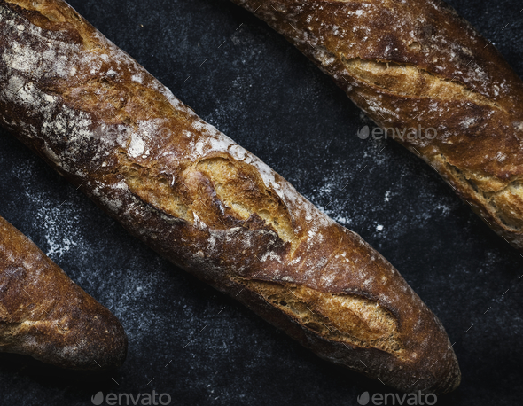 Close up of baguettes photography recipe idea - Stock Photo - Images