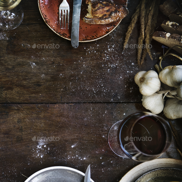 Messy rustic kitchen table mockup - Stock Photo - Images