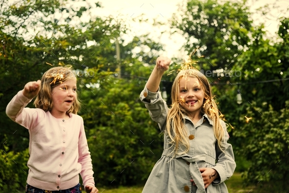Playful little girls - Stock Photo - Images