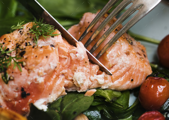 Baked salmon food photography recipe idea - Stock Photo - Images