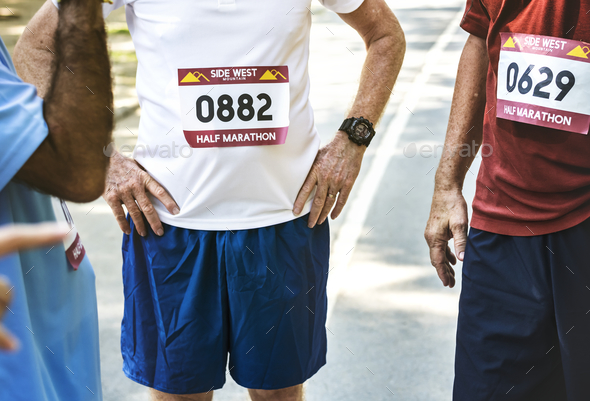 Group of senior runners at the park - Stock Photo - Images