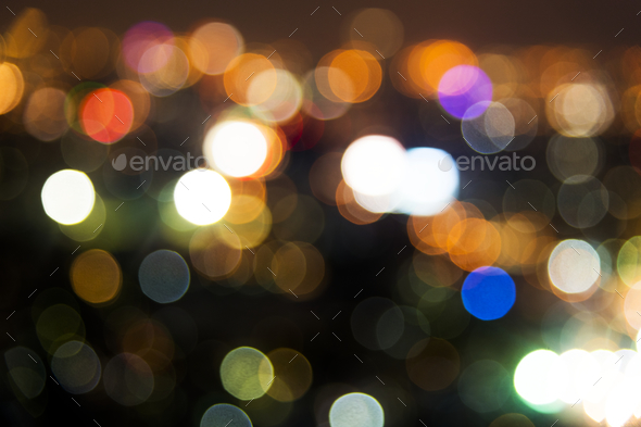 Blurred street bokeh lights at night time - Stock Photo - Images