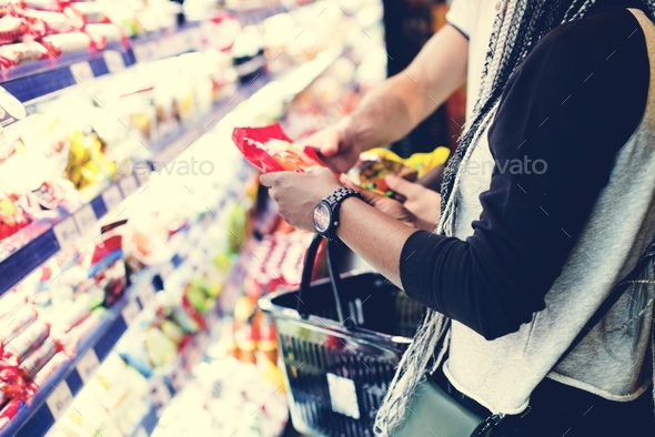 A couple shopping for food - Stock Photo - Images