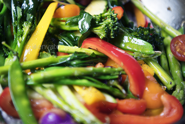 Sauted mixed vegetables food photography recipe idea - Stock Photo - Images