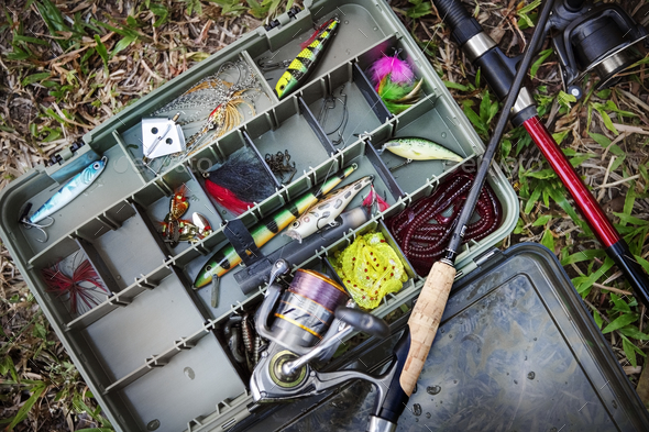 Aerial view of tackle box on the ground - Stock Photo - Images