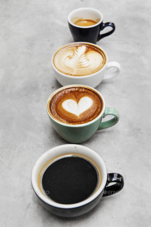 Closeup of various hot coffee - Stock Photo - Images