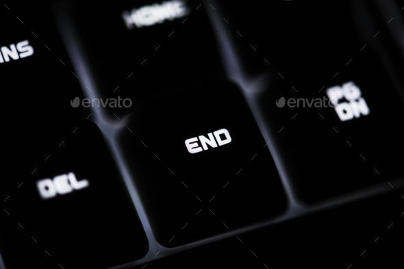 Closeup of a black computer keyboard and END button - Stock Photo - Images