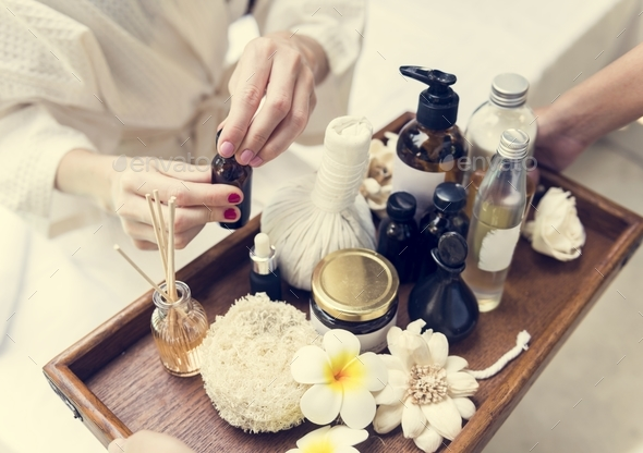 Assortment of spa products and oils - Stock Photo - Images