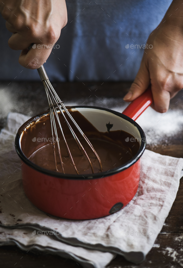 Chocolate ganache food photography recipe idea - Stock Photo - Images