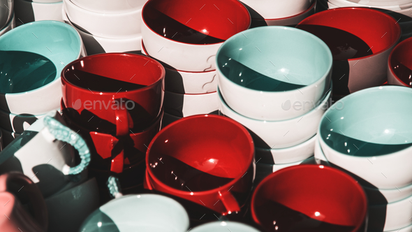 Colorful ceramic bowls - Stock Photo - Images